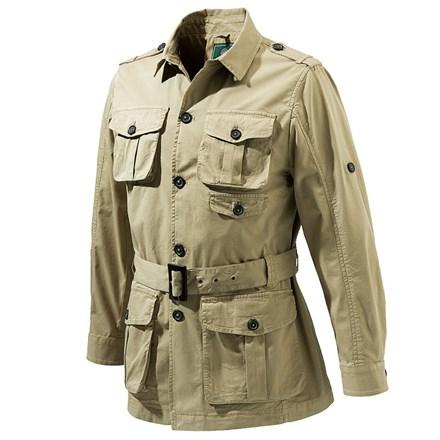 Safari Jacket for Men is an authentic African original made from light weight 5 1/2 ounce cotton fabric. Layer over a T-shirt or hunting shirt for cool comfort. Two buttoned flap covered chest pockets and two cargo pockets at the waist provide ample storage for essential outdoor gear.