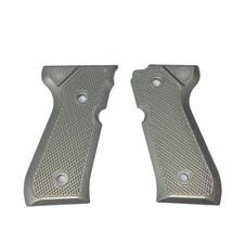 Beretta 92/96 Series Aluminum Checkered Grips w/ Trident Logo, Inox