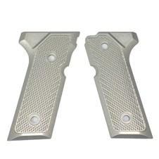 Beretta 92/96 VERTEC Aluminum Checkered Grips, Inox