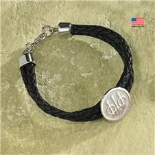 Beretta Trident Sterling Silver Leather Bracelet