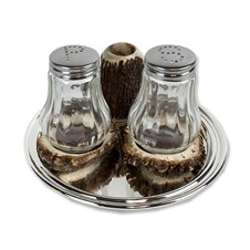 Silvered Salt & Pepper Glass Shakers