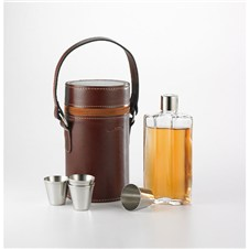 Mountain Leather Triple Flask Set