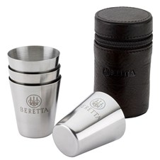 Beretta 4 pcs Stainless Steel Shot Glasses in Leather Box